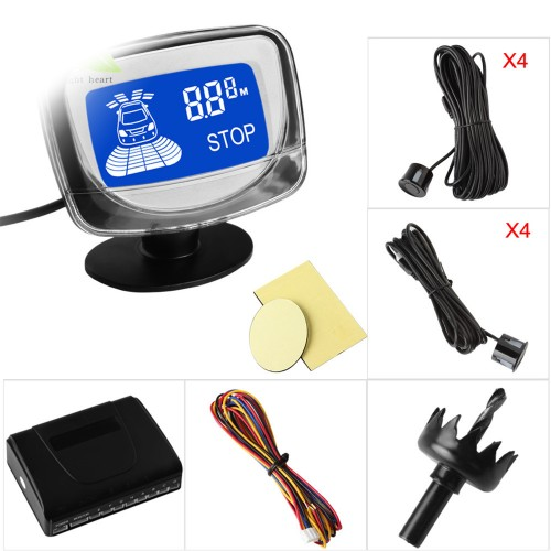 LIGHTHEART Car Parking Sensor System With LCD Monitor Display 8 Front & Rear Radar Reverse Sensors For Vehicles Revering