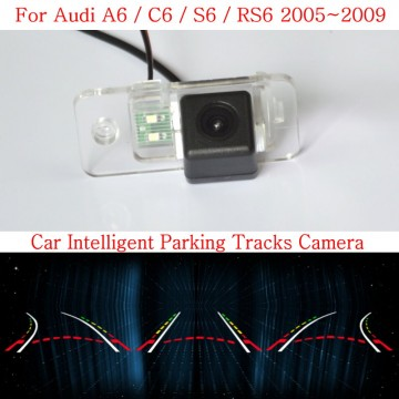 Car Intelligent Parking Tracks Camera FOR Audi A6 C6 S6 RS6 HD CCD Night Vision Back up Reverse Rear View Camera