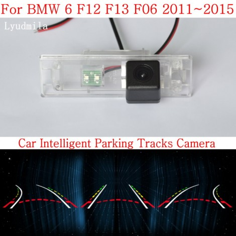 Car Intelligent Parking Tracks Camera FOR BMW 6 F12 F13 F06 2011~2015HD CCD Night Vision Back up Reverse Camera Rear View Camera