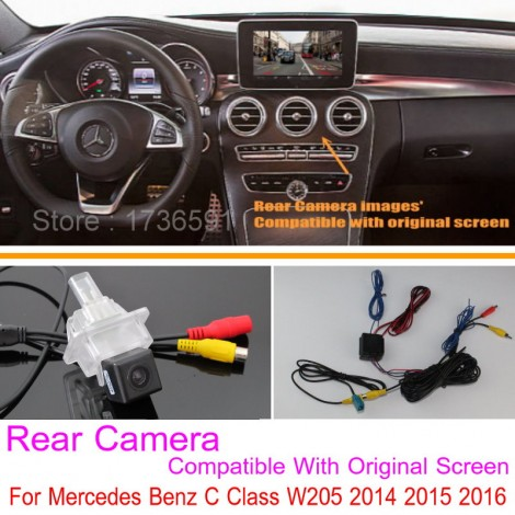 For Mercedes Benz C Class W205 2014 2015 2016 / RCA & Original Screen Compatible / Car Rear View Back Up Reverse Camera