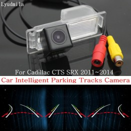 Car Intelligent Parking Tracks Camera FOR Cadillac CTS SRX 2011~2014 / HD CCD Back up Reverse Camera / Rear View Camera