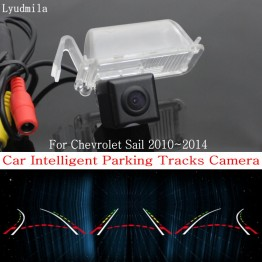 Car Intelligent Parking Tracks Camera FOR Chevrolet Sail 2010~2014 HD CCD Back up Reverse Camera / Rear View Camera