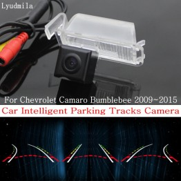 Car Intelligent Parking Tracks Camera FOR Chevrolet Camaro Bumblebee 2009~2015 HD CCD Reverse Camera / Rear View Camera