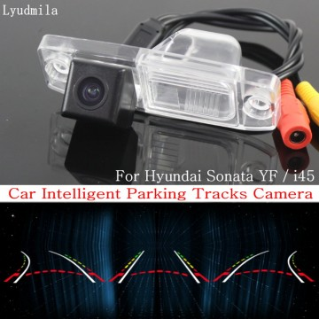 Car Intelligent Parking Tracks Camera FOR Hyundai Sonata YF / i45 2011~2014 HD CCD Back up Reverse Rear View Camera