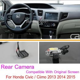 For Honda Civic / Ciimo 9th Generation 2012~2014 Original Screen Compatible / Car Rear View Back Up Reverse Camera Sets