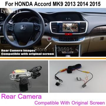 Connect Original Factory Screen / Monitor Car Camera For HONDA Accord MK9 2013 2014 2015 Rear View Back Up Camera