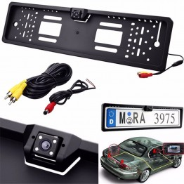 Universal Waterproof Europe License Plate Frame with 170 degree Wide Viewing Angle Rear View Camera