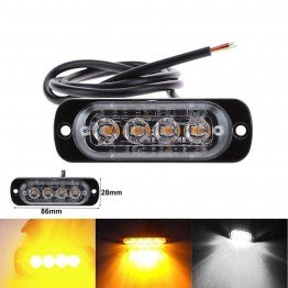 12V - 24V 4 Led Strobe Warning Light Strobe Grille Flashing Lightbar Truck Car Beacon Lamp Amber Yellow White Traffic light
