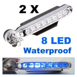 1 Pair LED Wind Powered Car Daytime Running Lights Auto Decorative Lamp with Rotation Fan No Need External Power Supply