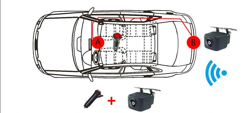 the first type of wiring: the camera directly through the switch a, plug in  the cigarette lighter power supply  this connection benefits, without  breaking
